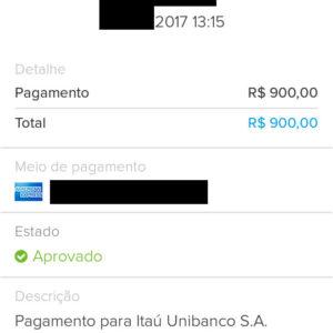 Exemplo de boleto pago com cartão de crédito no Mercado Pago