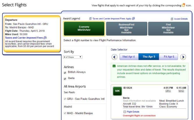 AAdvantage - Disponibilidade de bilhetes prêmio Iberia online
