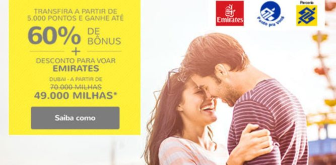 Smiles oferece até 60% de bônus e 30% de desconto em voos Emirates para clientes Banco do Brasil que transferirem seus pontos