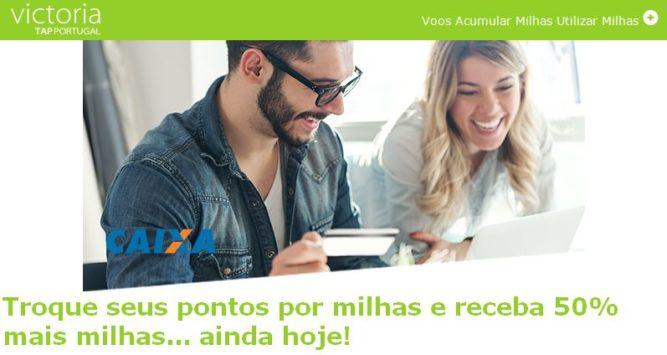 TAP Victoria oferece 50% de bônus para transferências de cartões CAIXA