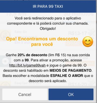 Cupom 99 taxis