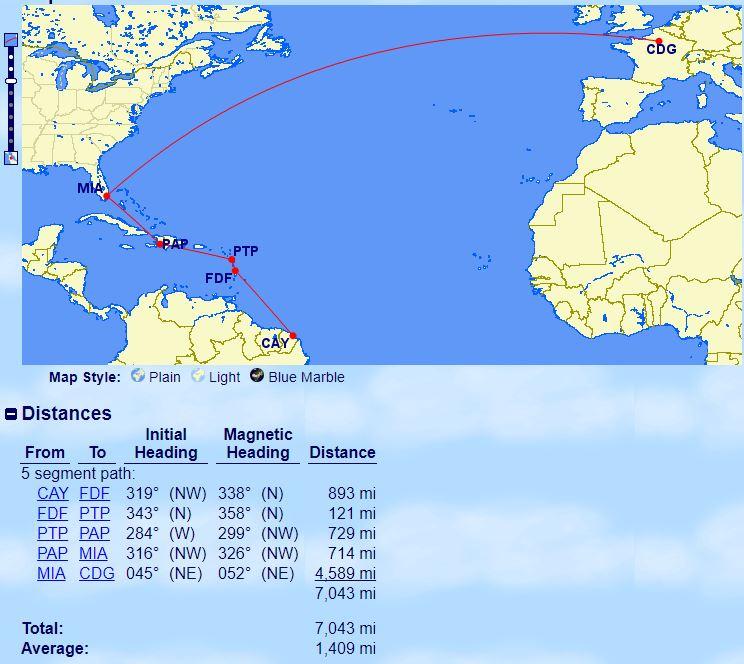 Caiena para Paris pelo Smiles passando por Fort-de-France, Pointe-à-Pitre, Porto Príncipe e Miami