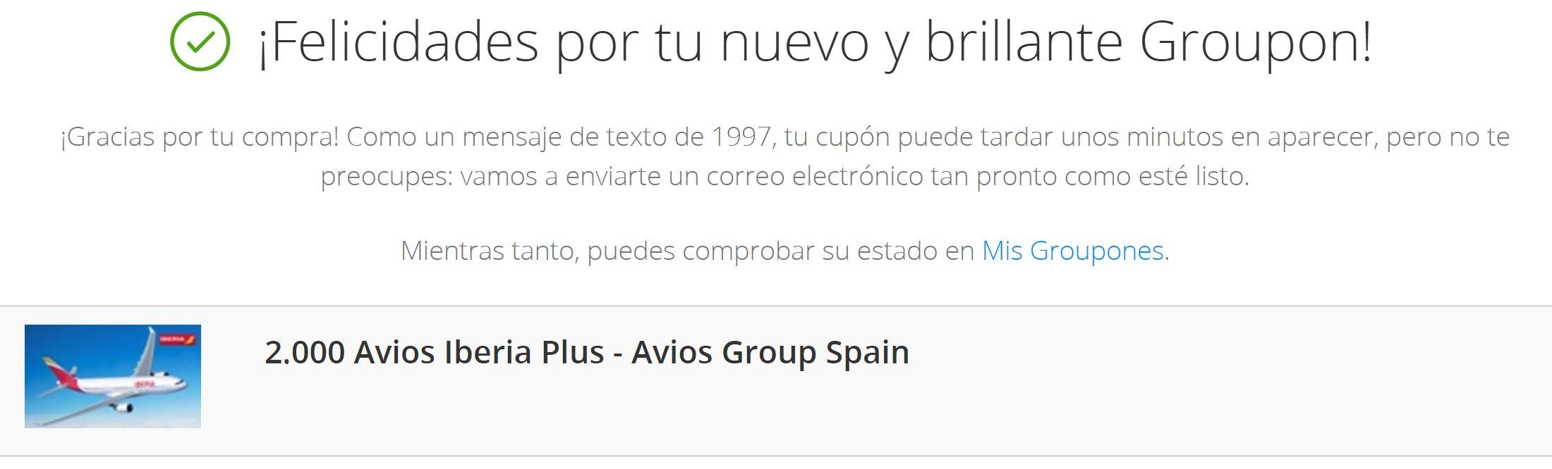 Compra de Avios no Iberia Plus via Groupon Espanha