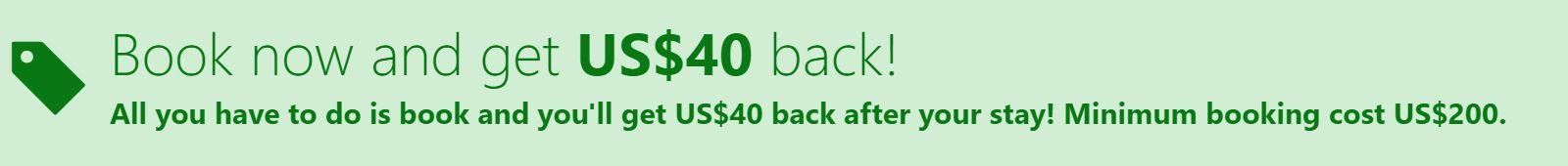 Booking devolvendo U$40 em reservas acima de U$200