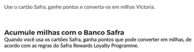 Parceria Victoria TAP e Banco Safra