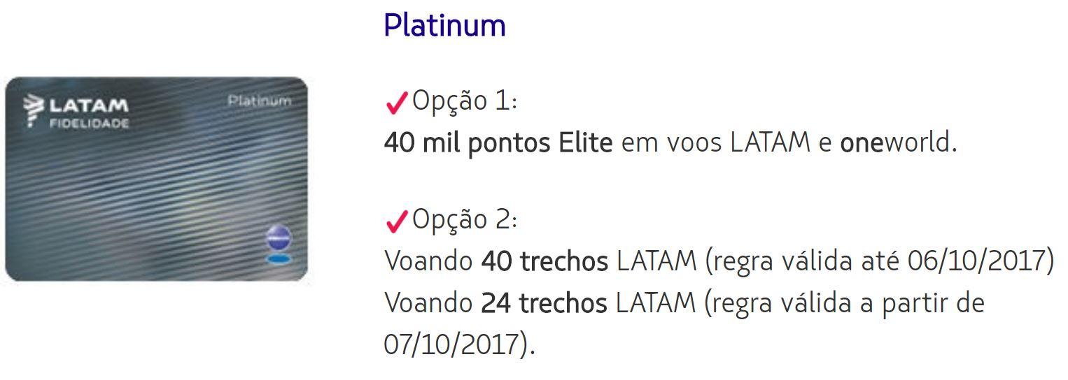 Regras para atingir Status Platinum - Latam Fidelidade