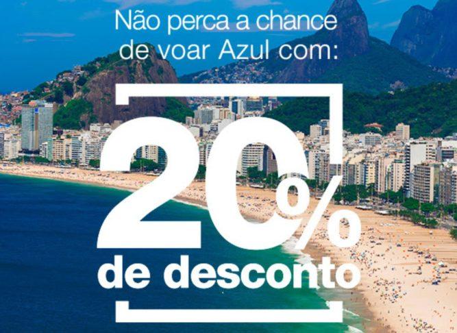 Azul - Cupom de 20% de desconto na compra de bilhetes aéreos