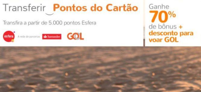 Santander e Smiles - 70% de bônus e 20% de desconto em voos Gol