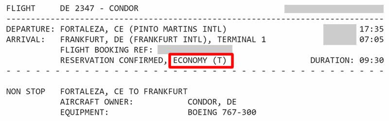 Classe tarifária T voando Condor (DE)